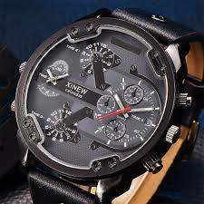Big Face Designer Watches Us 12 5 50 Off Fashion Designer Brand Xinew Mens Top Luxury Japan Quartz Leather Strap Big Face Date Dual Time Zone Watches Relogio Masculino In