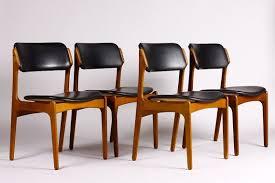 danish modern mid century modern dining chair set of 4 by erik buch o d møbler teak frames black vinyl seats on etsy 1 695 00
