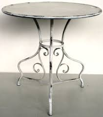 distressed cream round metal side table