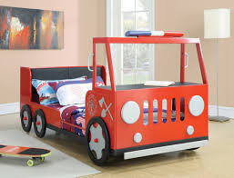 Kid Room Kid Room Beam Floor Lamp Puts Beside Red Twin Size Fire Truck Bed  For Boys With