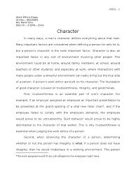 work ethics character morality integrity