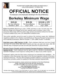 Minimum Wage Ordinance City Of Berkeley Ca