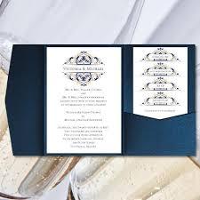 Pocket Fold Wedding Invitations Grace Navy Blue Champagne Gold 5x7