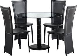 cameo black round glass pedestal dining set with 4 black faux leather chairs