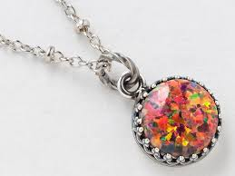 silver opal necklace fire pendant mexican in
