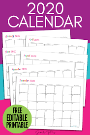 The year 2020 has started and you must be having a lot of work activities to manage to order to achieve your yearly use templates from here for free for your personal or professional work. Custom Editable 2020 Free Printable Calendars Sarah Titus From Homeless To 8 Figures