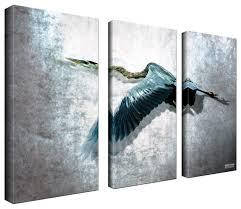 ready2hangart bruce bain heron flight 3 piece set canvas wall art beach style prints and posters by ready2hangart