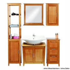 Eisl Badmöbel Set 5tlg Bambus Braun Regal Unterschrank Spiegel