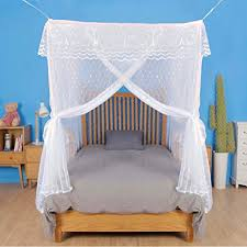 Artistic Mosquito Net Bed Canopy for Double Beds, All-Natural, No Insecticide, with Heart-Shaped Pattern Strong Diamond Mesh, Top Skirt, Three-Door, ...