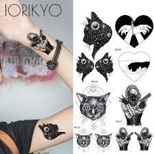 Cool Punk Style девушки татуировки наклейки вселенная кошки рука временные татуировки