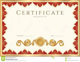 Diploma Certificate Background With Red Border Stock