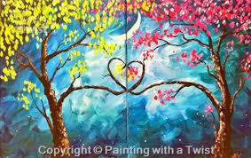 painting with a twist encore love tree set in austin at