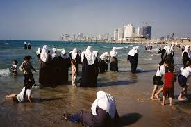 moslem women swimming in  jaffa arabs swimming