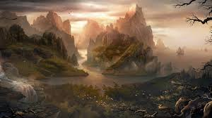 1920x1080 px birds chinese architecture digital art fantasy art hill island landscape mountain nature rock trees