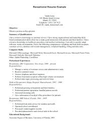 Receptionist Resume Examples Simple Receptionist Resume Sample Pohlazeniduse