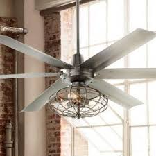 industrial inspired lighting. An Industrial-inspired Ceiling Fan With Included Vintage Style Cage Light Kit. Industrial Inspired Lighting B