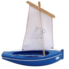 spirited mama wooden toy sailing boat blue white