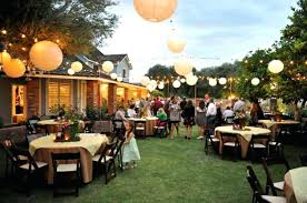 backyard wedding party ideas wedding decoration ideas simple backyard decorations with large round tables and wooden
