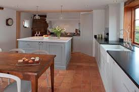 Brilliant Modern Kitchen Tile Flooring Square Terracotta Flagstones Work Perfectly With This Throughout Innovation Ideas