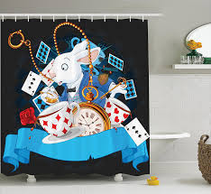 alice in wonderland decorations shower curtain set by rabbit amazing with motion cups hearts rose flower character alice cartoon bathroom accessories