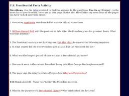 Presidential Salary History Chart U S Presidential Facts Activity Worksheet Lesson Planet