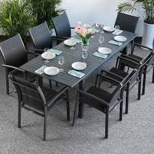 large modern 8 seater grey metal top practical extending garden furniture dining table set 8 good quality s comfortable chairs good size table
