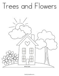 Small Picture Trees and Flowers Coloring Page Twisty Noodle