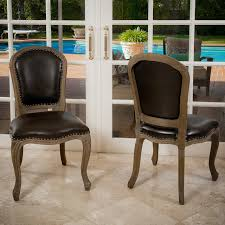 trafford leather weathered wood dining chairs set of 2 modern dining room
