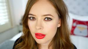 perfect skin winged liner red lip christmas party makeup tutorial ad tanya burr