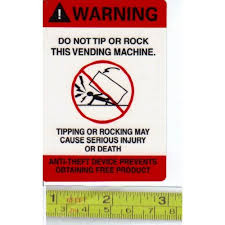 Sticker Vending Machines New STICKER Warning ENGLISH Do Not Tip Or Rock This Vending Machine