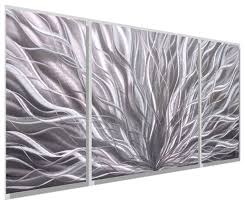 silver metal wall art panels