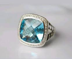 Pre Owned David Yurman Albion 14x14mm Huge Blue Topaz And Diamonds Ring Size 9