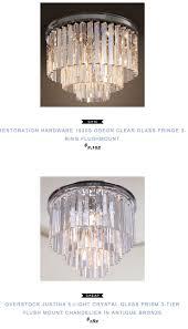 restoration hardware 1920s odeon clear glass fringe 3 ring flushmount