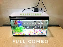Set bể cá mini 25 - 30 cm và 7món Bể,nắp đèn led,lọc thác mini,