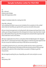 invitation letter for visit usa