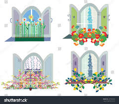 Flower Window Box Designs Windows Flowers Box Design Set Funny Stock Vector Royalty
