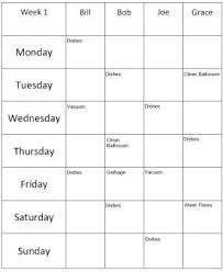4 Person Chore Chart Sample Roommate Chores 4 People For Those That Need