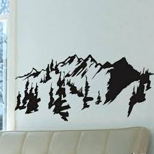 wall trees style mountains trees wall art decal sticker removable traditional painting vinyl wall stickers wall trees