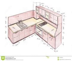 interior design drawings. Modern Interior Design Kitchen Freehand Drawing. Living, Isolated. Drawings