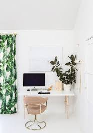stylish office decor. brilliant decor home office with tropical printed curtains a customized ikea desk and  large plant intended stylish office decor