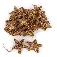 20 Stroh Sterne Christbaumschmuck In Gold Glitzer 50 Mm