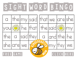 Sight Word Printables -Sight Word Bingo Printables
