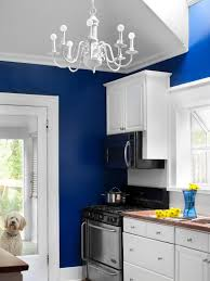 Awesome White Kitchen With Bright Blue Walls