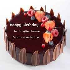 Birthday Chocolate Velvet Decorated Cake With Your Namename On Cake