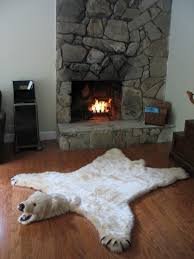 soft and glamorous white faux polar bearskin rug limited edition