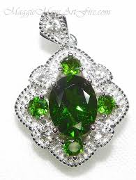 white topaz and russian chrome diopside pendant necklace