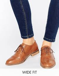 asos make up wide fit leather brogues tan d78w9334 womens asos shoes