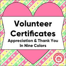 Certificates Of Appreciation Volunteer Certificates Of Appreciation And Thank You