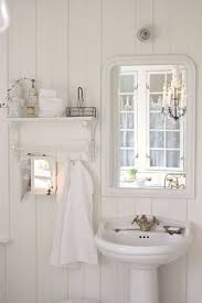 a beautiful vintage all white bathroom i think this will look good in our log home one of these days b a t h r o o mcottagefarmhouse porch likeshome chic small white home