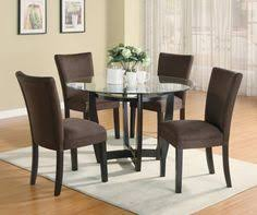 bloomfield 5 piece dark espresso wood finish table base with round gl table top dining set